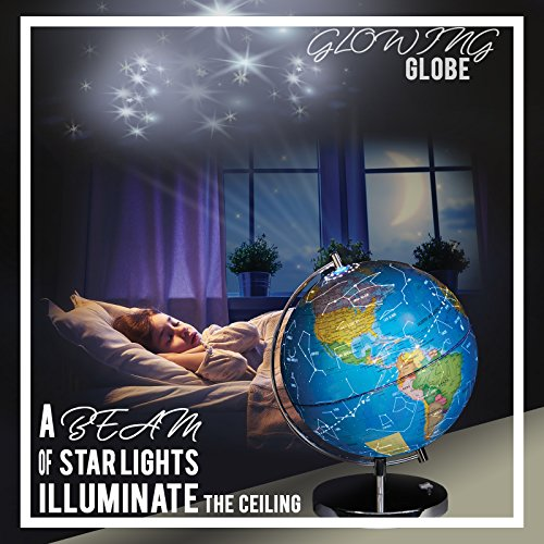 """LED Light Up Globe with Bluetooth Speaker, Chrome Base and Detailed World Map - Constellations Glow at Night – Projects Star Lights on Ceiling as Nightlight - 12.5 x 9"""" - by ToyThrill Photo #7"""