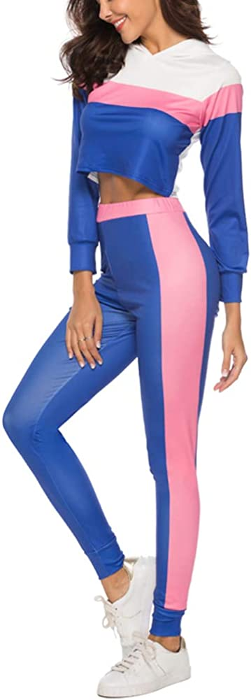 kaimimei Women Colorblock Tracksuit Jumpsuit Pullover Long Sleeve Hoody Top and Pants Casual Sportwear Two Piece Outfits