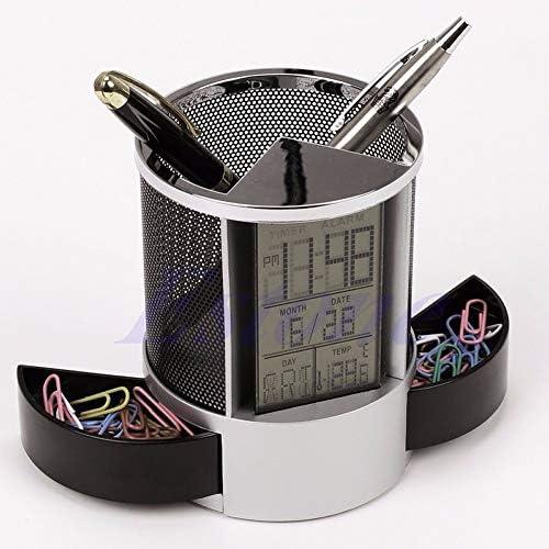 Schreibtisch Mesh-Feder-Bleistift-Halter-Pens Aufbewahrungsbehälter Ewiger Kalender Bürobedarf digitale Multifunktions-LED,ZhangJJun (Color : Black)