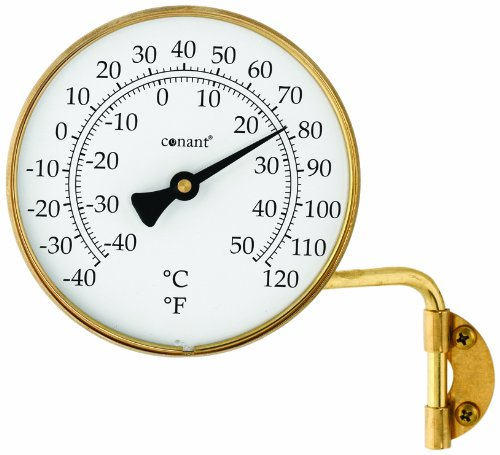 (Conant T6LFB Vermont Dial Thermometer, 4-Inch, Living Finish Brass)