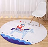 LivebyCare Multi-Size Cartoon Animal Round Carpet Area Floor Rug Doormat Entrance Entry Way Front Door Mat Ground Rugs for Inside Outside Aisle Passage Porch