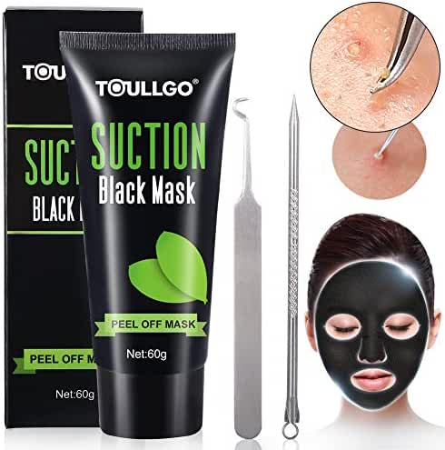 Peel Off Mask, Charcoal peel off mask, Black Mask with Tools Effective Remove black/white Head and Dead Skin, Suction Black Mask Nose Strip For Face Nose Acne Treatment Oil Control (60ml)