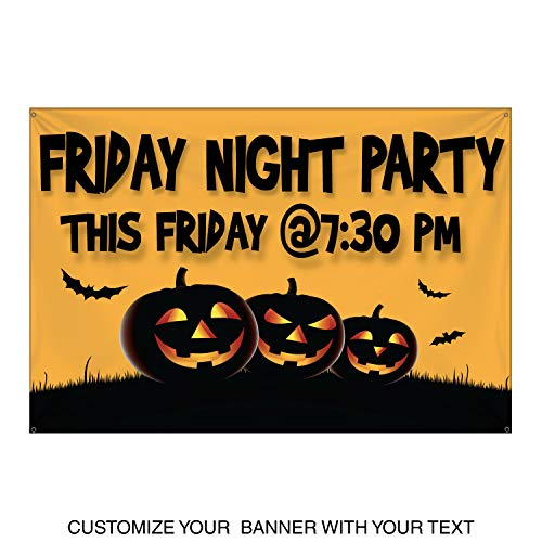 HALF PRICE BANNERS | Custom | Halloween Pumpkin Vinyl Banner | Heavy Duty Outdoor | 4'x6' Yellow | Free Bungees & Zip Ties | Easy Hang Advertising Sign | Business Holiday | Various Sizes | Made in USA -
