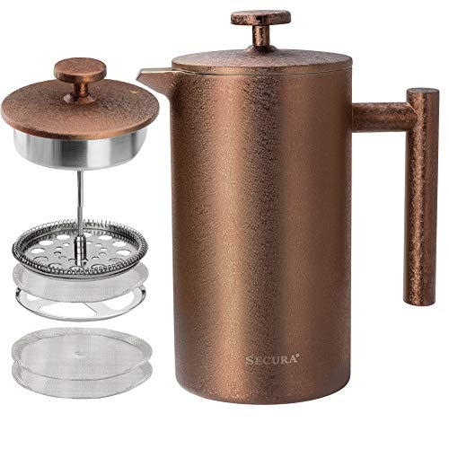 Secura French Press Coffee Maker, 304 Grade Stainless Steel Insulated Coffee Press with 2 extra Screens, 34oz 1 Litre , Coffee