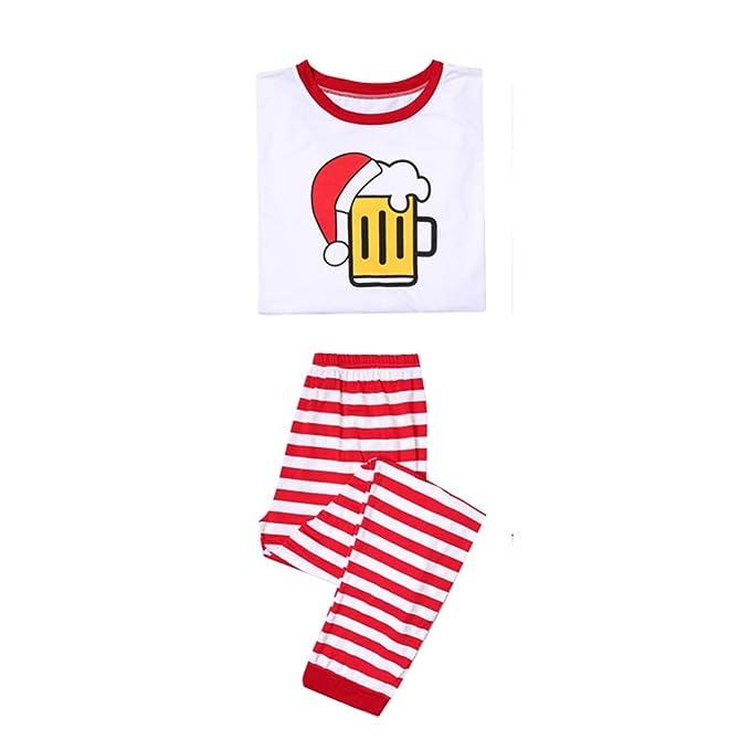 MEIHAOWEI Family Look Pijamas Navideños Cerveza/Café/Leche Tops + Raya Pantalón Trajes a Juego Look Familia Pijamas Niños Ropa Navidad: Amazon.es: Ropa y ...