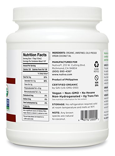 Nutiva Organic, Cold-Pressed, Unrefined, Virgin Coconut Oil from Fresh, non-GMO, Sustainably Farmed Coconuts, 54-ounce (Pack of 2) by Nutiva (Image #10)