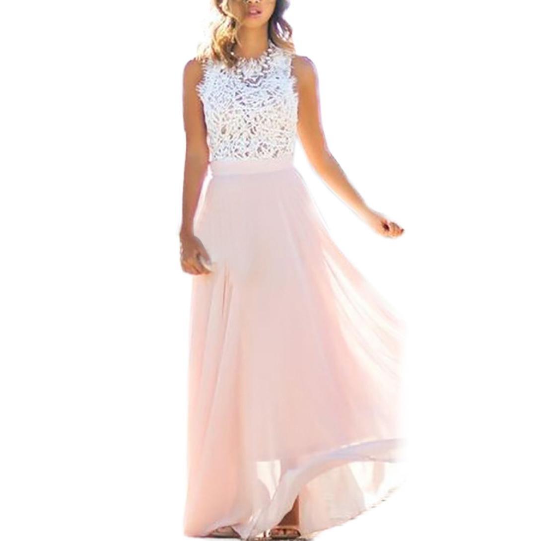 Sumen Women Summer Sundress Lace Chiffon Sleeveless Party Beach Long Dress