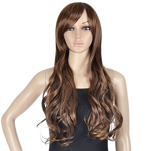EPYA Women's Fashion Long Curly Big Wavy Cosplay Costume Full Hair Wigs Light Brown 1 (Einstein Costume Wig)