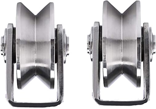 2 x riel de carril en forma de V, ruedas para cargas pesadas, ruedas para cisternas, ruedas para trinquetes en V, polea de acero inoxidable, ruedas para transmisión, anillos, puertas correderas, grúa: