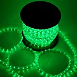 Green Christmas Lighting LED Rope Light 150ft I 1620 LED Bulbs Rope Light 150' Ft w/ Power Cords Connectors Holiday Strip Ribbon Decorative Lighting Outdoor Home Indoor 110v