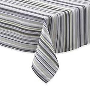 Town U0026 Country Living Tablecloth Indoor/Outdoor Jellybean Stripe Grey 52 X  70 Oblong