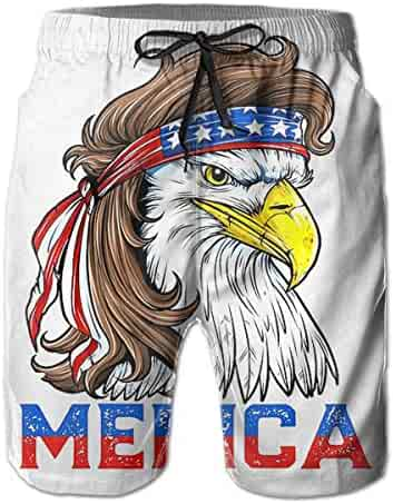 a58504cddcd09 Bald Eagle Mullet 4th of July - Merica Male Swim Trunks Quick Dry  Waterproof Beach Pants