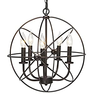 Best Choice Products Industrial Vintage Lighting Ceiling Chandelier 5 Lights Metal Hanging Fixture