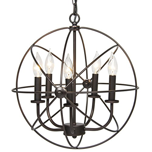 Best Choice Products Industrial Vintage Lighting Ceiling Chandelier 5 Lights Metal Hanging Fixture (Kitchen Lighting Fixtures Hanging)