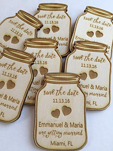 Sample Mason Jar Save the Date Magnets  Wedding