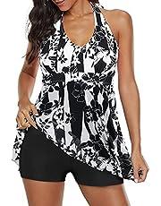Trajes de baño para mujer con control de abdomen, talla grande, para mujer, traje de baño atlético, Negro-blanco, 14-16
