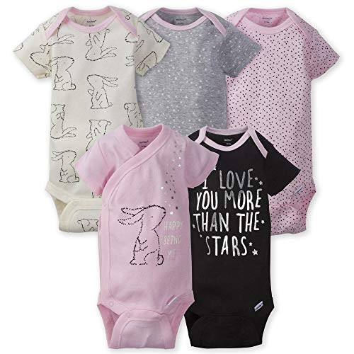 Gerber Baby Girls' 5-Pack Variety Onesies Bodysuits, Bunny Love, 0-3 Months