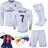 (US) Barcelona Kids Jersey 2015/2016 Football Soccer Real Madrid #7 Ronaldo Home White Long Sleeve Jersey & Shorts &Socks & Key Chain Kids 3-14 Yrs (3-4 years)