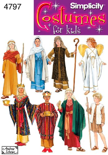 Simplicity 4797 Boys' and Girls' Nativity Costumes Sewing Pattern - Size A (Shepherds Nativity Costume)