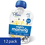 Plum Organics Mighty Morning, Organic Toddler Food, Banana, Blueberry, Oat & Quinoa, 3.17 ounce pouch (Pack of 12)