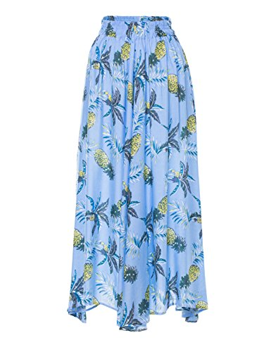 (Geckoistail Women's Long Pineapple Print Maxi Cotton Polka Long Vintage Skirts (C005blue-S))