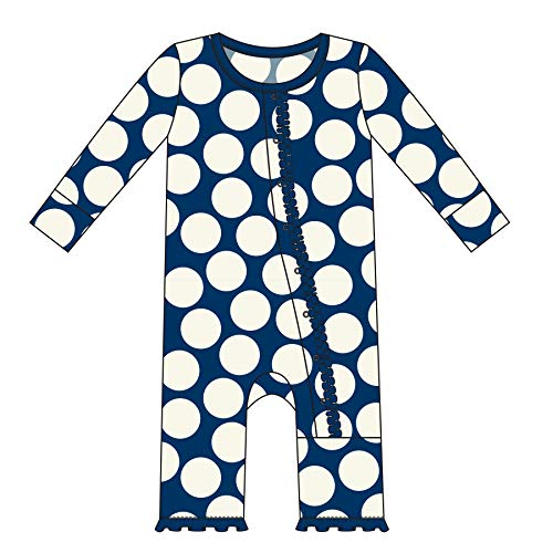 Kickee Pants Little Girls Print Muffin Ruffle Coverall with Snaps - Navy Mod Dot, - Mod Dots Pink