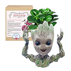 OnefunTech Hands up Groot Planter Pot, Baby Groot Flower Pot Plant Pot Tree Man Pen Container Guardians of The Galaxy Action Figures Toy (Hands up Groot)