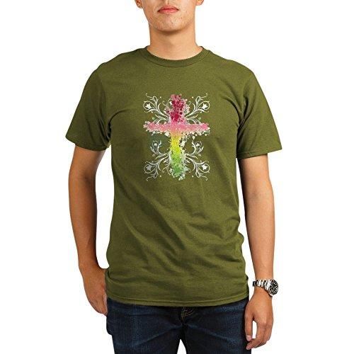 Royal Lion Organic Men's T-Shirt Dark Christian Faith Bible Prayer Cross - Olive, Large
