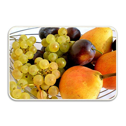Ranhkdn Absorbent Non Slip Grapes Pears Plum Allsorts Fruit Floor Rug Doormat Unique Mat 18x30 inch