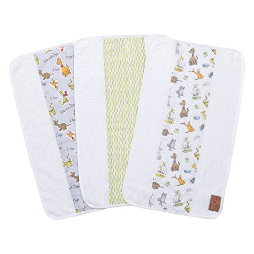 Trend Lab Dr. Seuss by What Pet Should I Get? 3 Pack Jumbo Burp Cloth Set, Gray, Yellow, Green, Orange, Tan and White