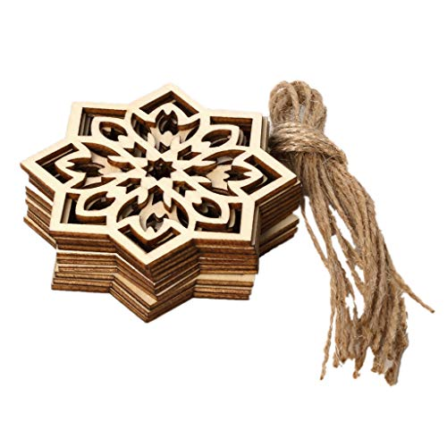 HoHome Eid Wooden Pendant,DIY Eid Mubarak Muslim Festival Natural Wood Snowflake Hanging with Ropes Hollow Ramadan Home Decoration