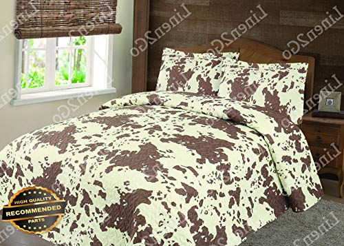 (Werrox 3 Piece Cowhide Cow Print Quilt Rustic Western Bedspread Comforter Bedding Set! | King/Cal-K Size | Quilt Style QLTR-291265340)