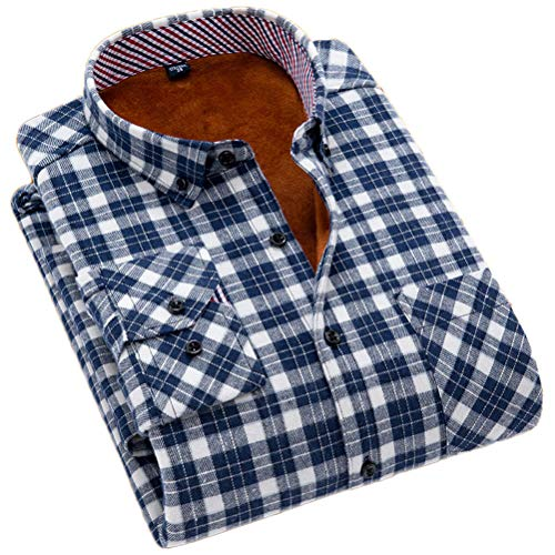 Men Flannel Thermal - Soojun Men's Fleece Lined Plaid Thermal Flannel Shirt, F43, Small
