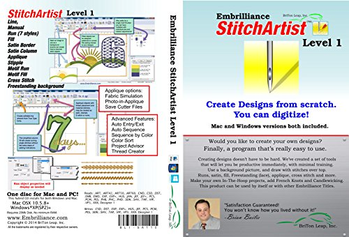 Embrilliance StitchArtist Level 1, Digitizing Embroidery Software for Mac & PC