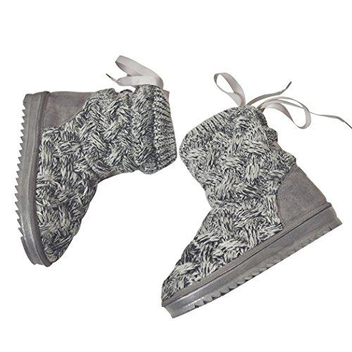 Miyang Winter Dames Pentagram Huis Schoenen Indoor / Outdoor Pluche Boot Slippers Grijs