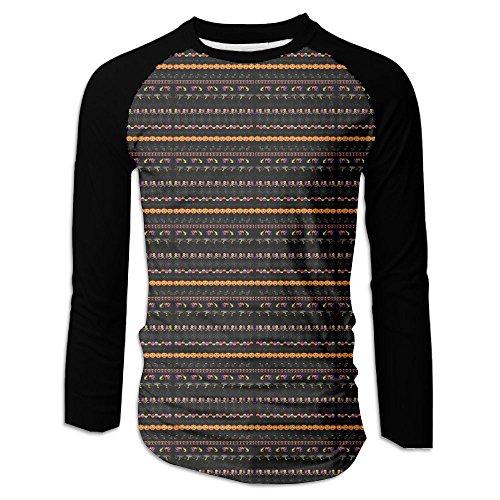 Menâ€s Halloween Borders Clip Art Raglan Baseball T-Shirts 3/4 Sleeve Baseball Tees XL