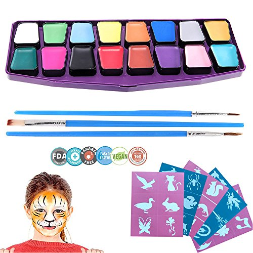 Face Painting 16 Colors - Halloween Face Paint & Body Paint Kits Art Make-up Set for Kids - Supad Best Quality Ultimate Party Pack Kits Non Toxic FDA Approved Vibrant Water Based Painting (Halloween Mouth Stencil)