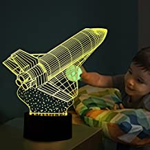 3D Illusion Lamp Cute Rocket Visual Effect Night Light 7 Colors Glows With Smart Touch Switch USB Cable Creative Halloween Gifts Toys Decorations