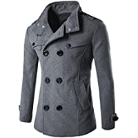 Mens Winter Clothes, Boomboom Double Row Button Collar Woolen Mens Winter Coat Sweater Top