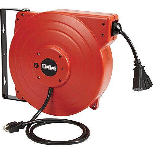 Ironton Retractable Cord Reel with Triple Tap - 65ft, 12/3 SJT, 15 Amps