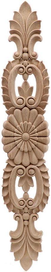 Timesens Unpainted Wood Oak Carved Wave Flower Onlay Decal Corner Applique for Home Furniture Decor Decorative Wood Carved Long Applique 50cmX9cm