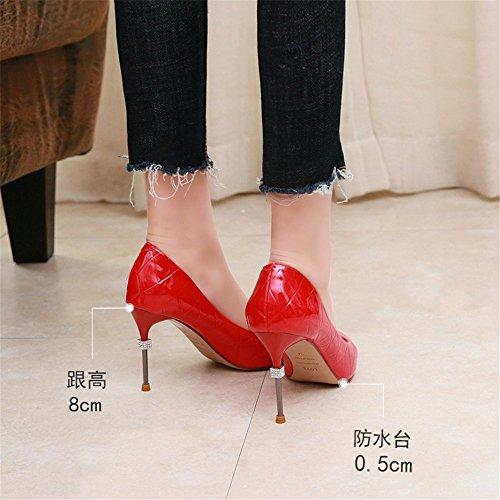 elegante strass tacchi singole punta a C YMFIE superficiale scarpe temperamento multa bocca Europeo con sexy alti twxA8q