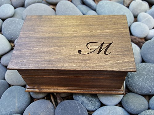 Custom engraved jewelry box with 1 monogram on top, monogrammed gift, handmade by simplycoolgifts