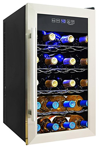 NutriChef 18 Bottle Thermoelectric Wine Cooler / Chiller | Counter Top Red  And White Wine Cellar