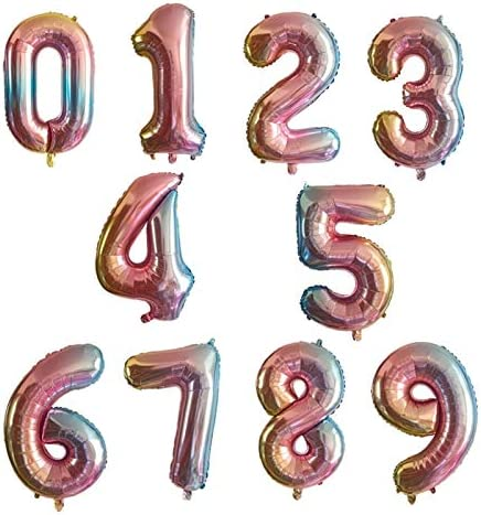 Foil Helium Digital Balloons Ball Shower Birthday Party 40inch Aantal Balloon Gradient Kleur Aantal Folie Ballonnen Rainbow Digit Decorations Kids Figuur Balloon Baby Bruiloft