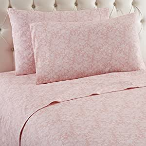 Thermee Micro Flannel Shavel Home Products Sheet Set, Romance/Rose, Full