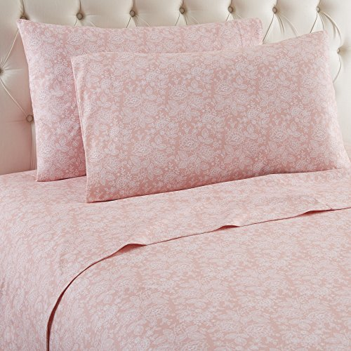 Flannel Pink Sheets (Thermee Micro Flannel Shavel Home Products Sheet Set, Romance/Rose, Full)