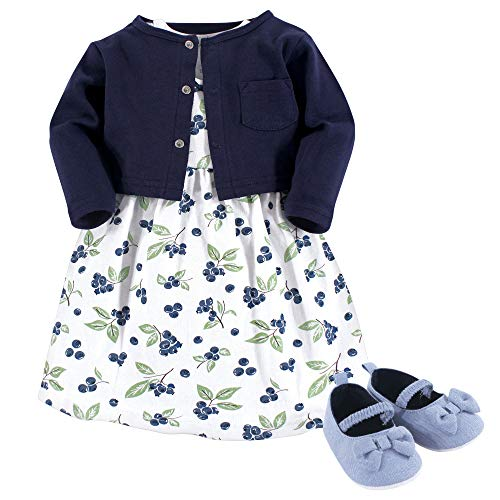(Hudson Baby Girl Baby Cardigan, Dress and Shoes, 3-Piece Set, Blueberries, 0-3 Months)