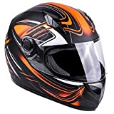 Typhoon Adult Full Face Motorcycle Helmet DOT (Matte Orange, XL)