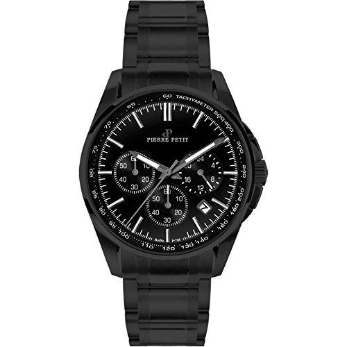 Pierre Petit Men's P-786F Serie Le Mans Black PVD Bracelet Chronograph Tachymeter Watch
